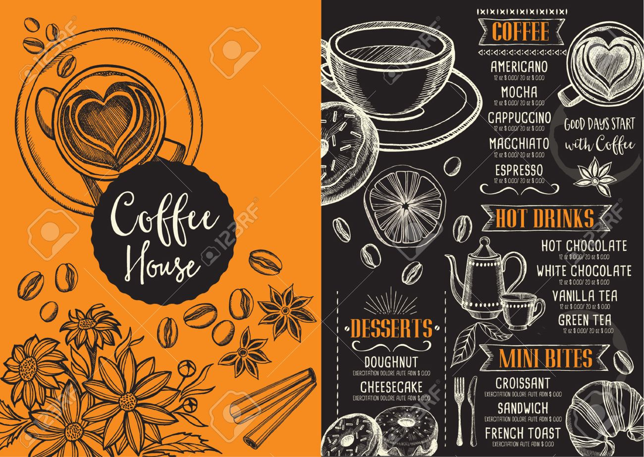 Coffee Menu Placemat Food Restaurant Brochure, Coffee Shop Template ...