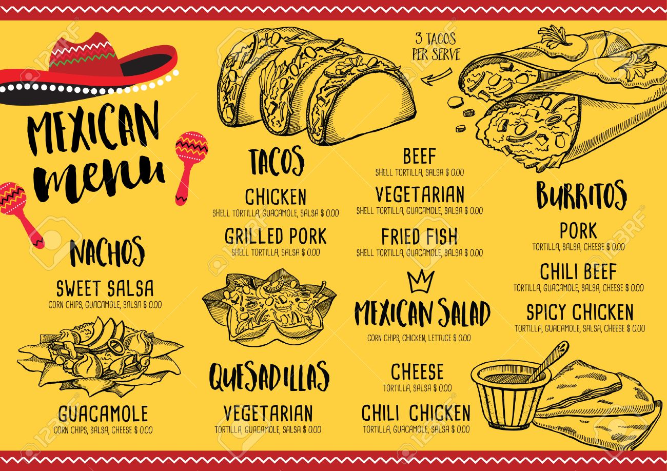 mexican menu placemat food restaurant, menu template design