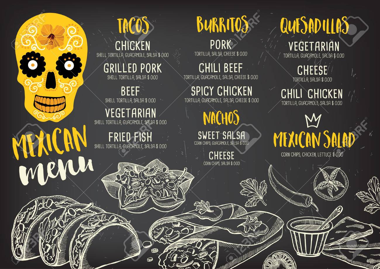 Mexican menu placemat food restaurant, menu template design. Vintage creative dinner brochure with hand-drawn graphic. Vector food menu flyer. - 59488685