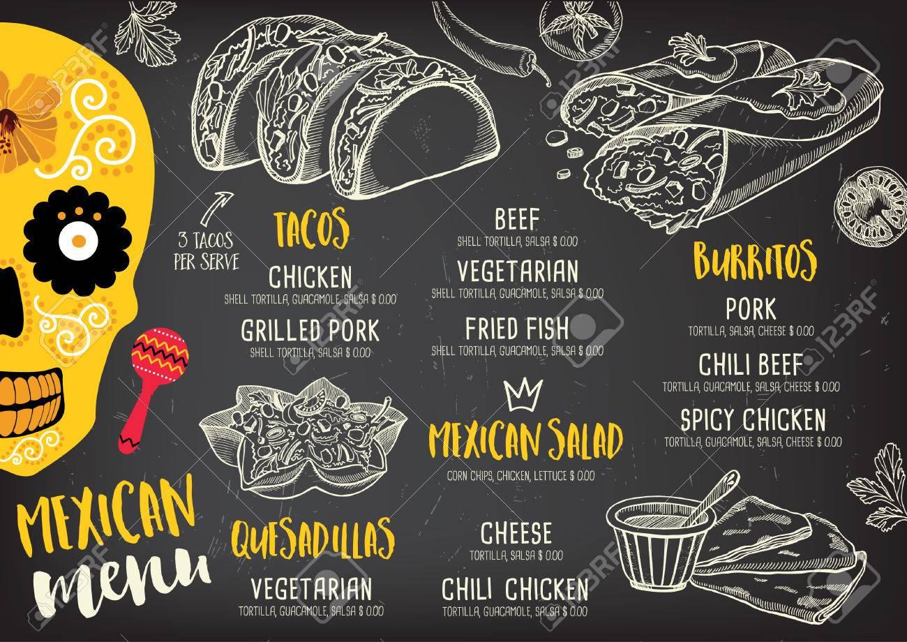 Mexican menu placemat food restaurant, menu template design. Vintage creative dinner brochure with hand-drawn graphic. Vector food menu flyer. - 59488687