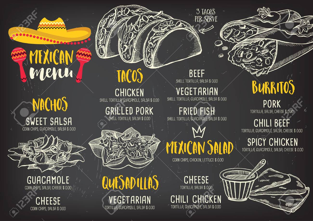 Mexican Menu Placemat Food Restaurant, Menu Template Design ...