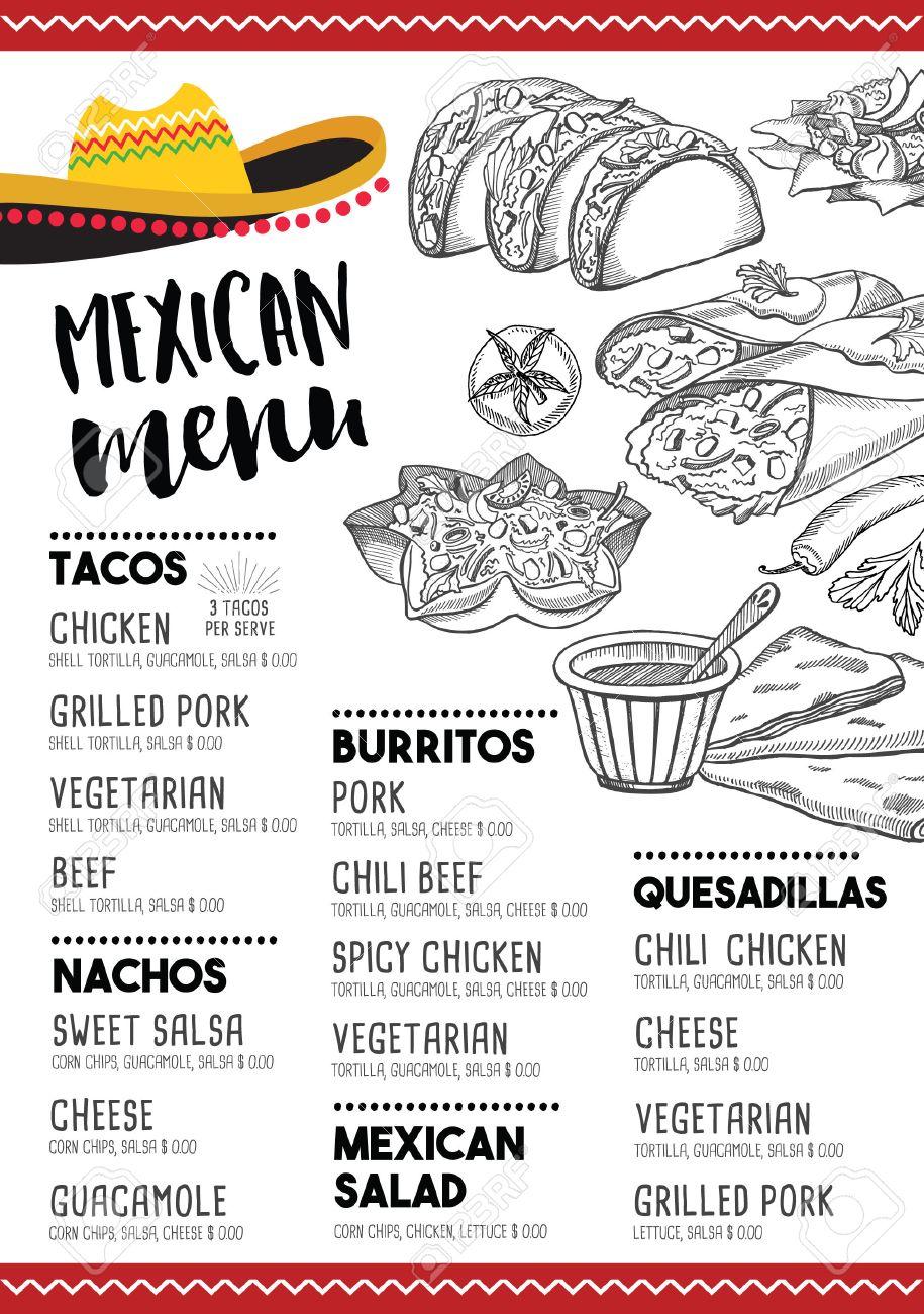 Restaurante De Comida Mexicana Menú Mantel, Diseño De Plantilla De ...