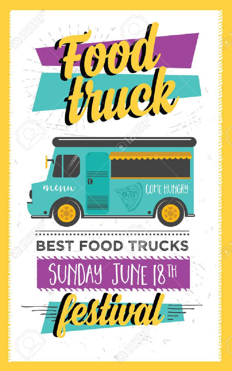 Food truck festival menu brochure, street food template design. Vintage creative party invitation with hand-drawn graphic. Vector food menu flyer. Hipster menu board. - 59490057