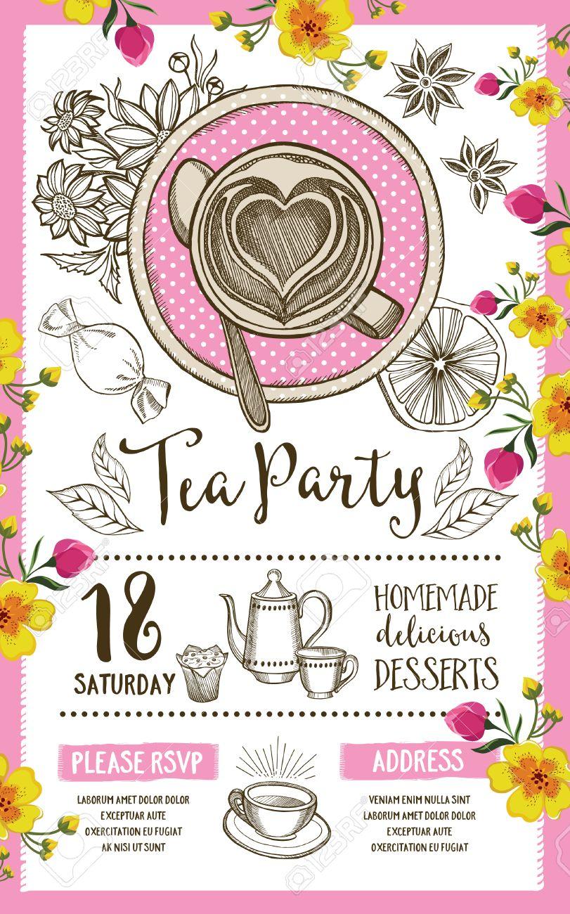 Invitación De La Fiesta Del Té, Diseño De La Plantilla. Invitación ...