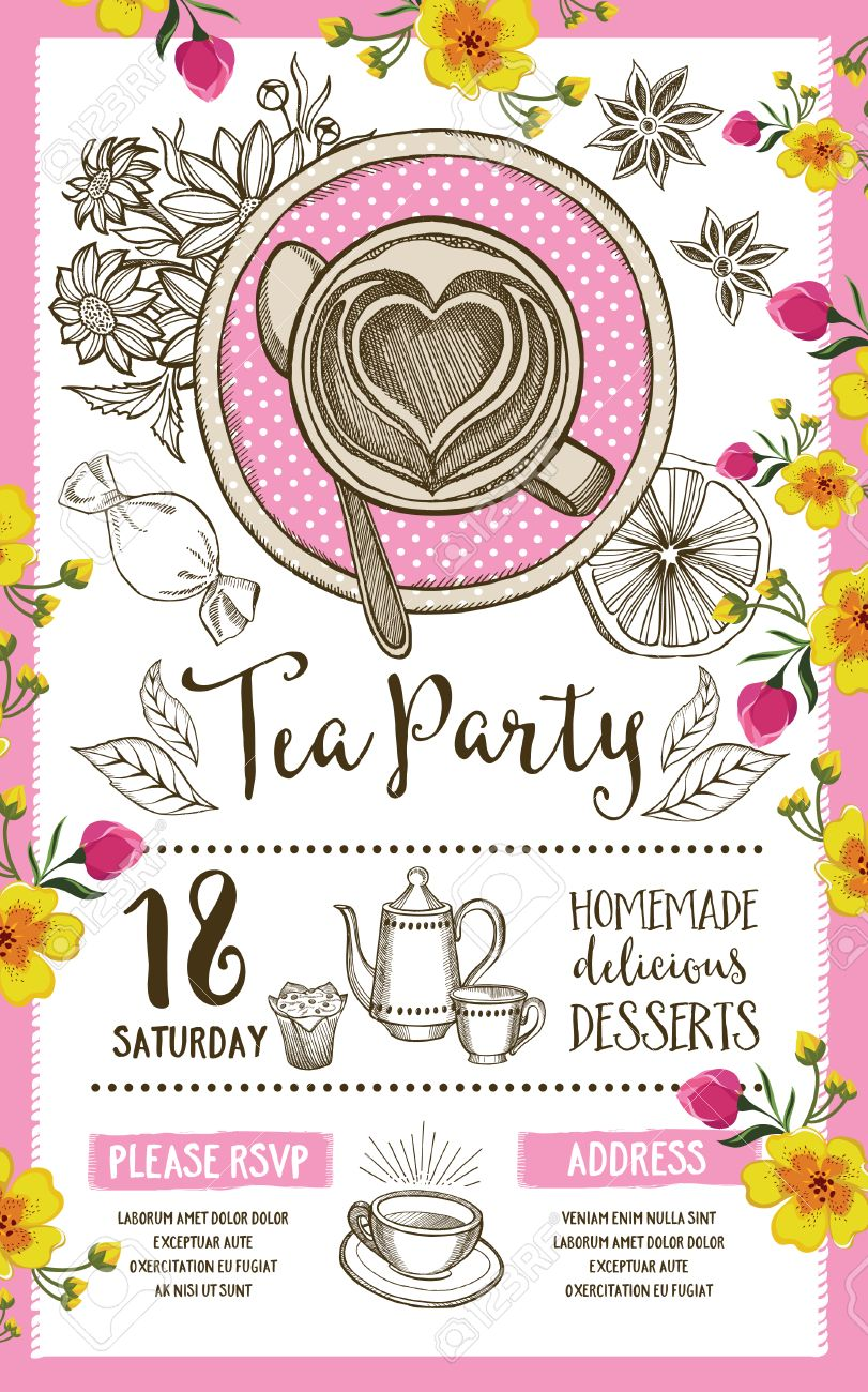 tea party invitation template design vintage creative dinner