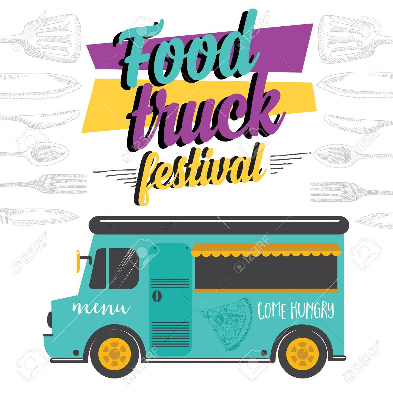 Food Truck Festival Menu Brochure Street Template Design Vintage Creative Party Invitation With