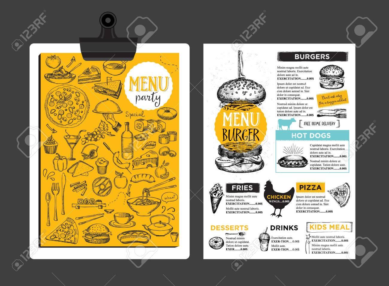 La Colocación De Menú Folleto Restaurante De Comida, Diseño De ...