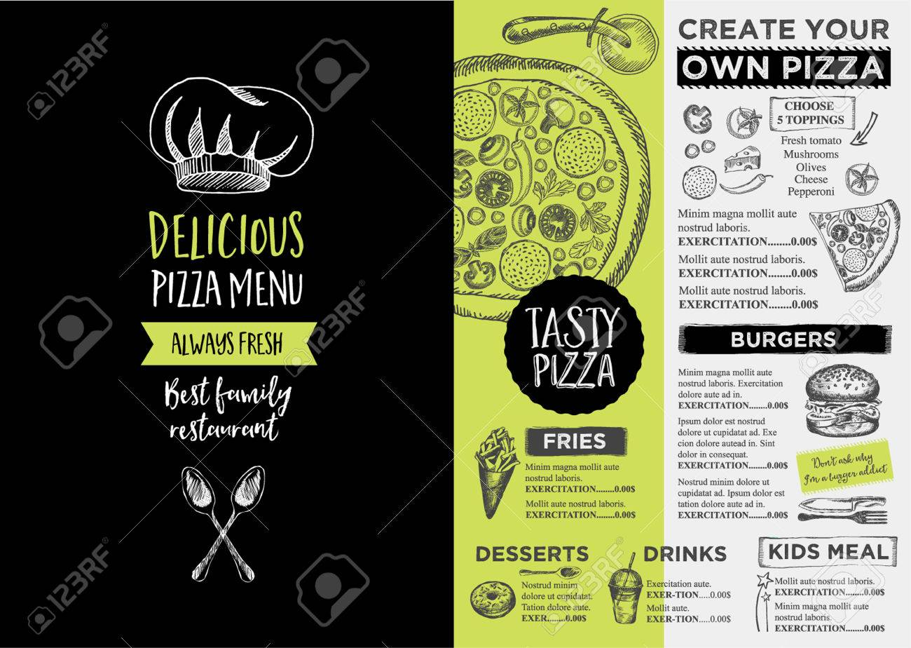 Menu place mat food restaurant brochure, menu template design. Vintage creative dinner template with hand-drawn graphic. - 60235096
