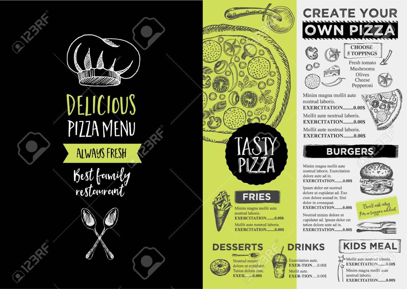 Menu Platzdeckchen-Food-Restaurant Broschüre, Menüvorlage Design ...