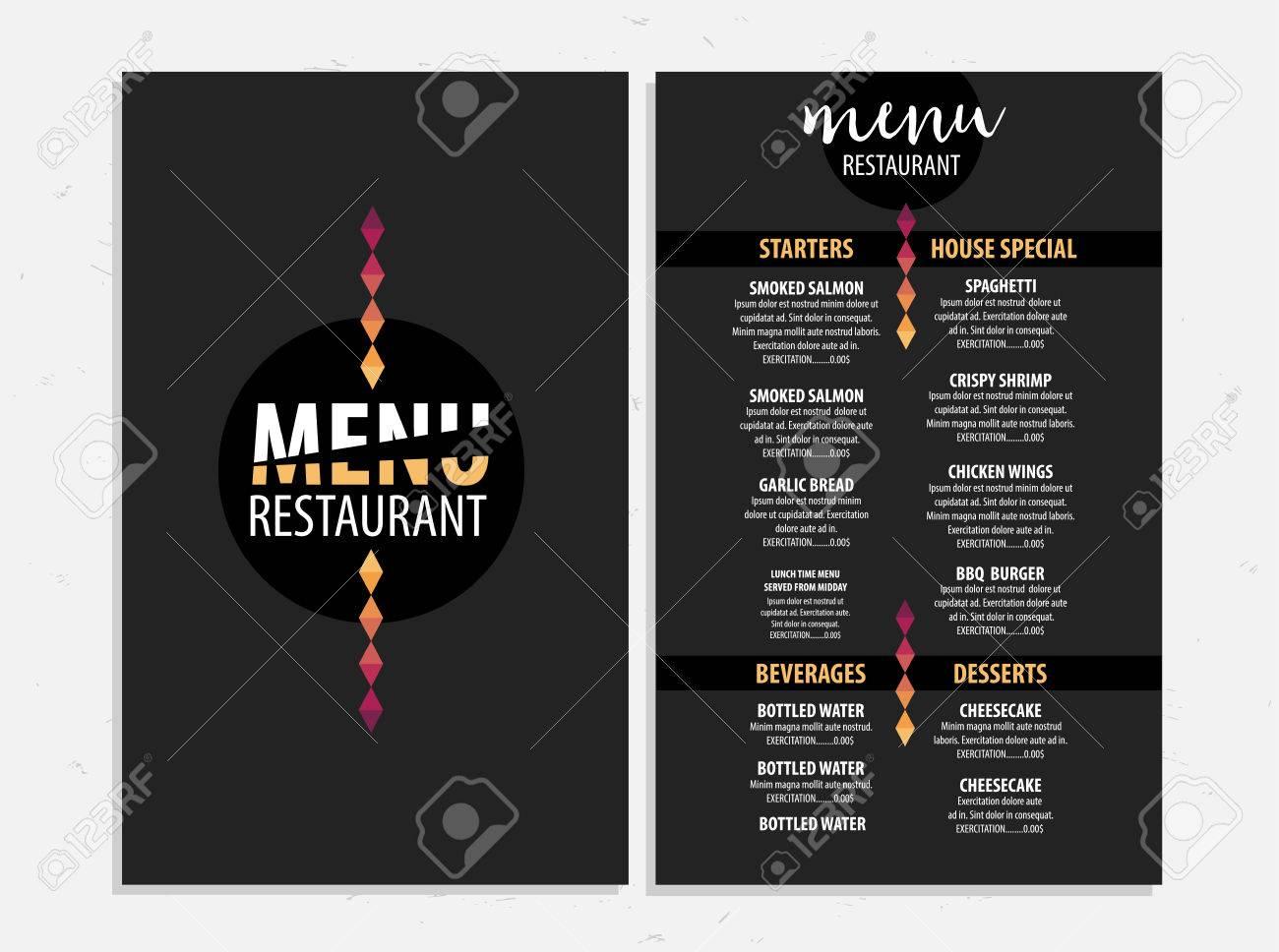 Menu Placemat Food Restaurant Brochure, Template Design. Vintage ...