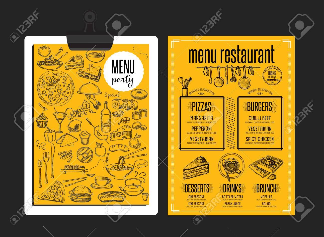 Mantel Individual Menú De Un Restaurante De Comida Folleto, Diseño ...