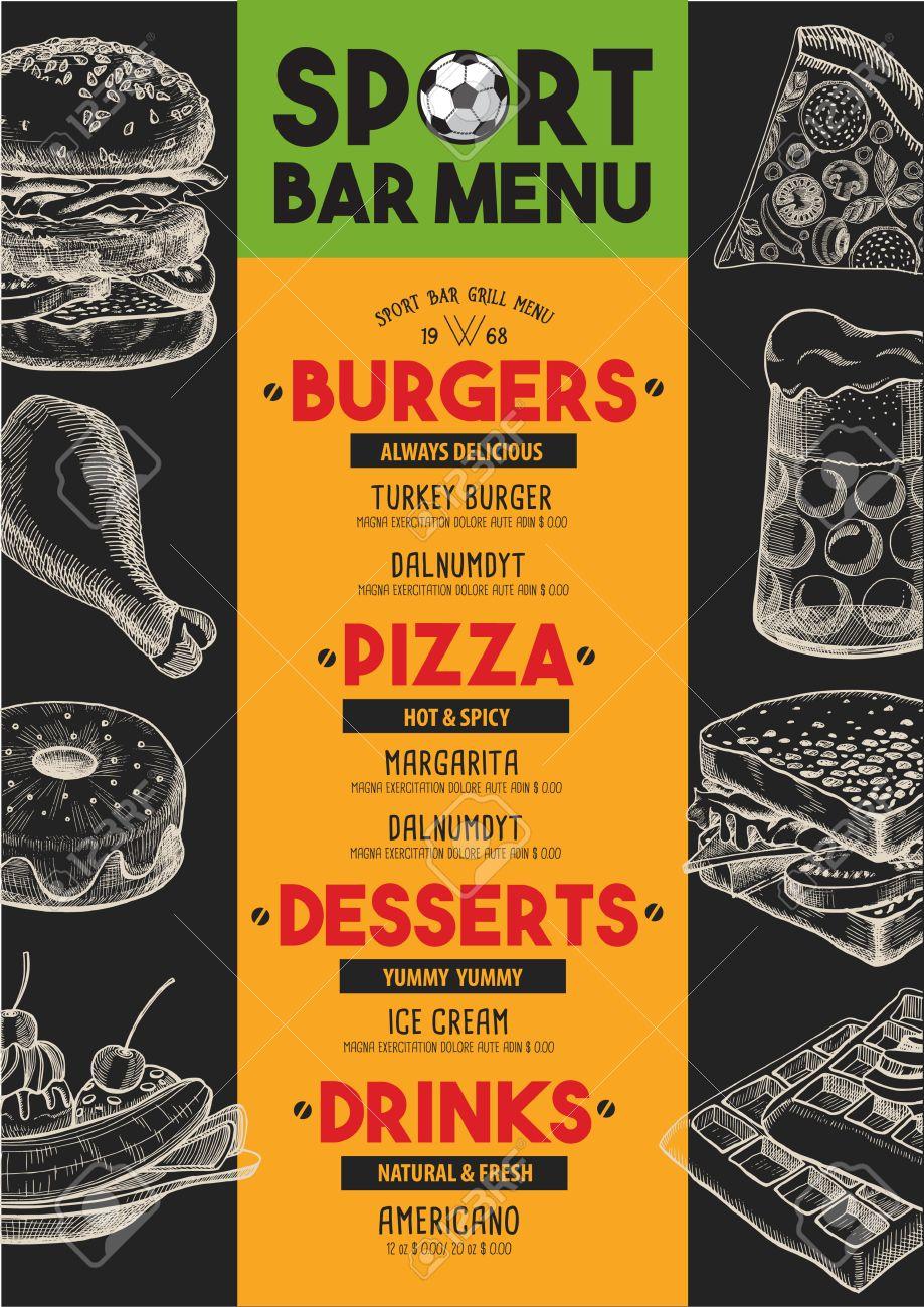 sport bar menu placemat food restaurant brochure, template design