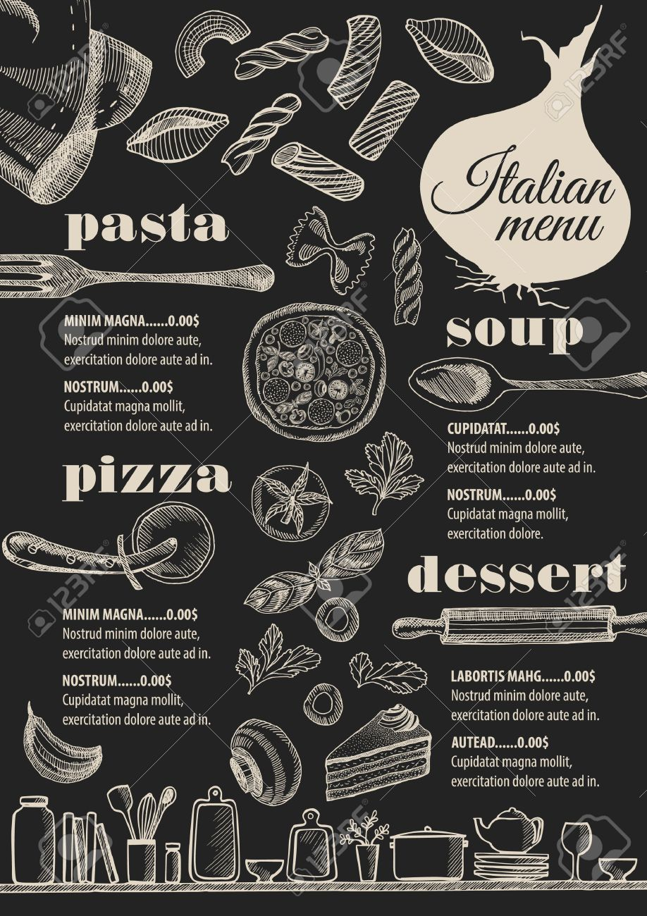 Italian menu placemat food restaurant brochure, template design. Vintage creative pizza flyer with hand-drawn graphic. - 63152759