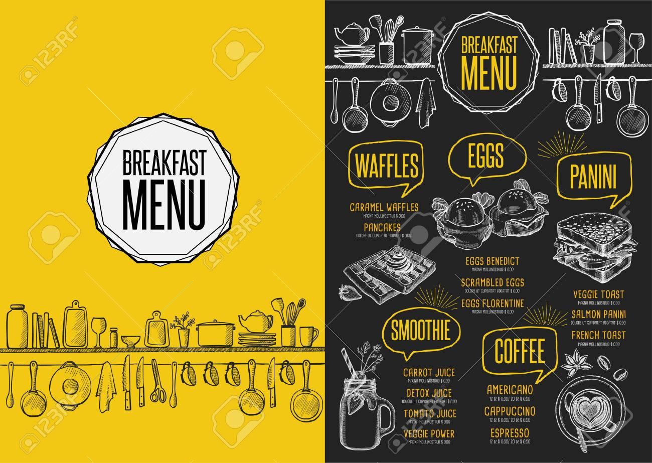 Breakfast menu placemat food restaurant brochure, template design. Vintage creative dinner flyer with hand-drawn graphic. - 63152846