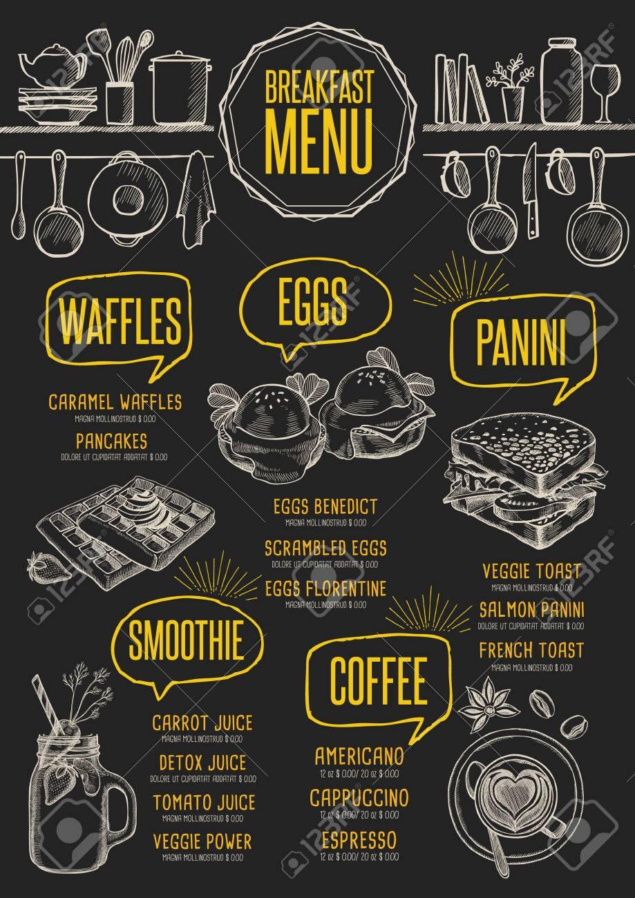 breakfast menu placemat food restaurant brochure template design