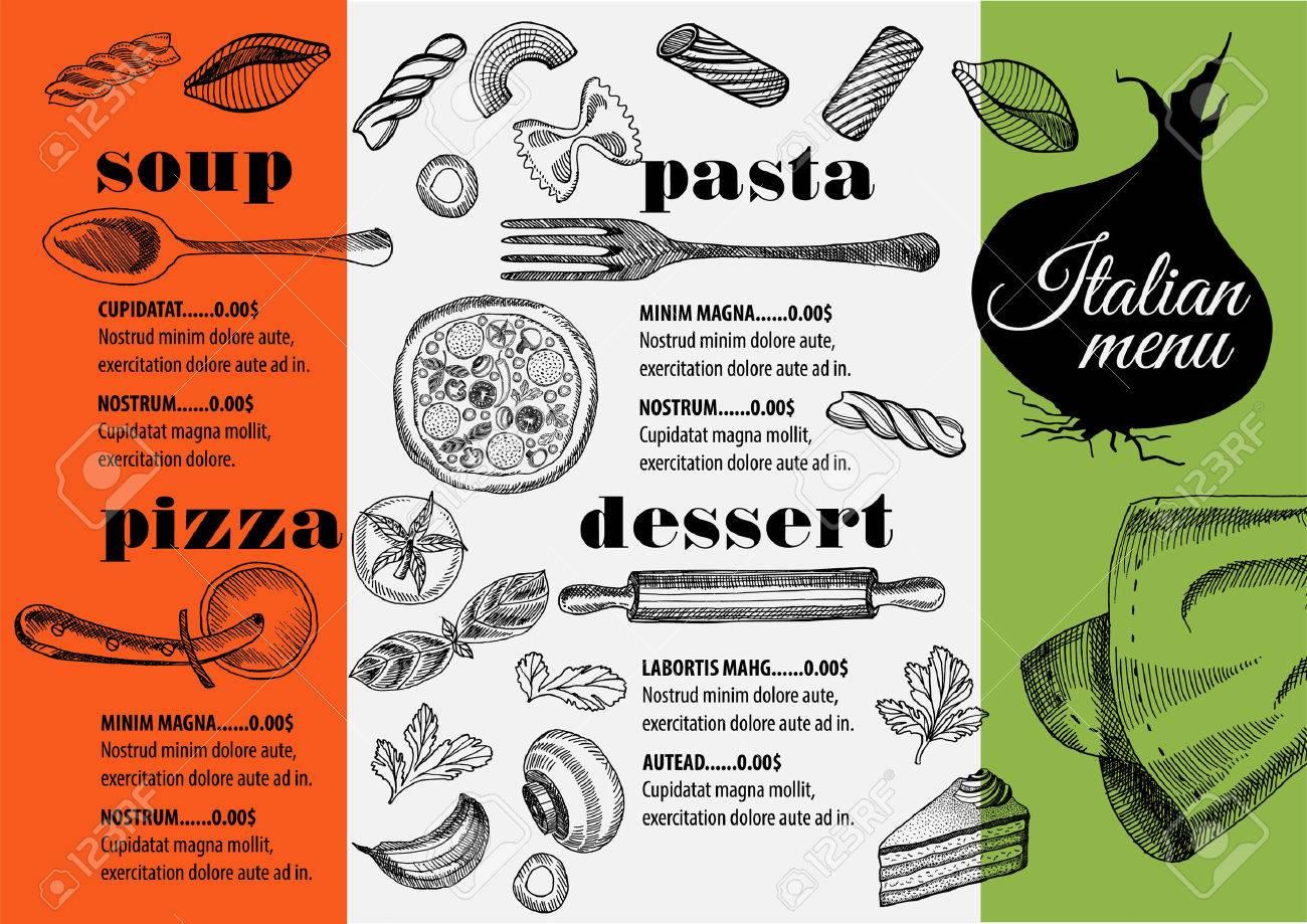 Italian Menu Placemat Food Restaurant Brochure Template Design Vintage Creative Pizza Flyer With Hand