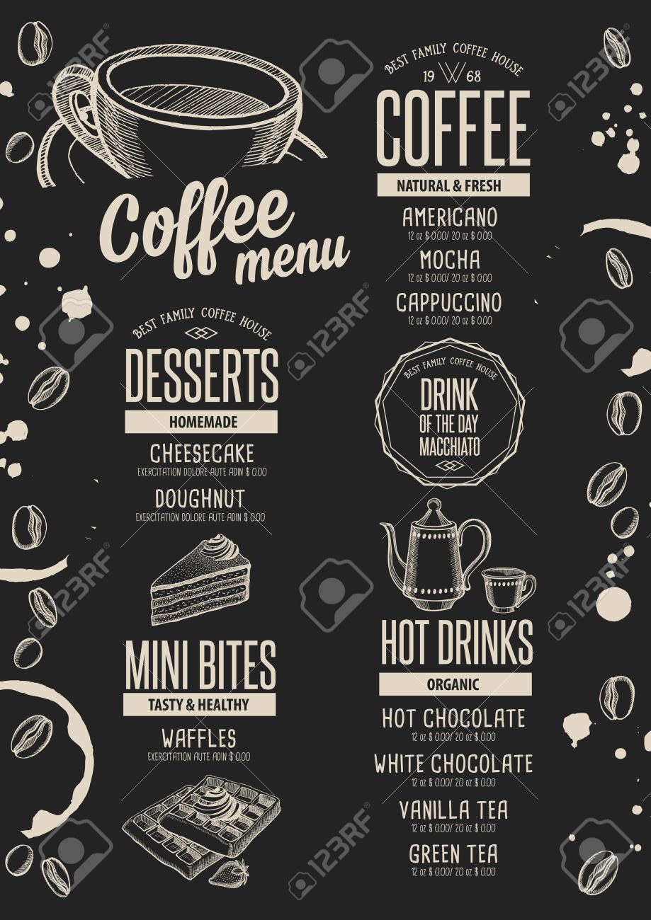coffee menu placemat food restaurant brochure cafe template