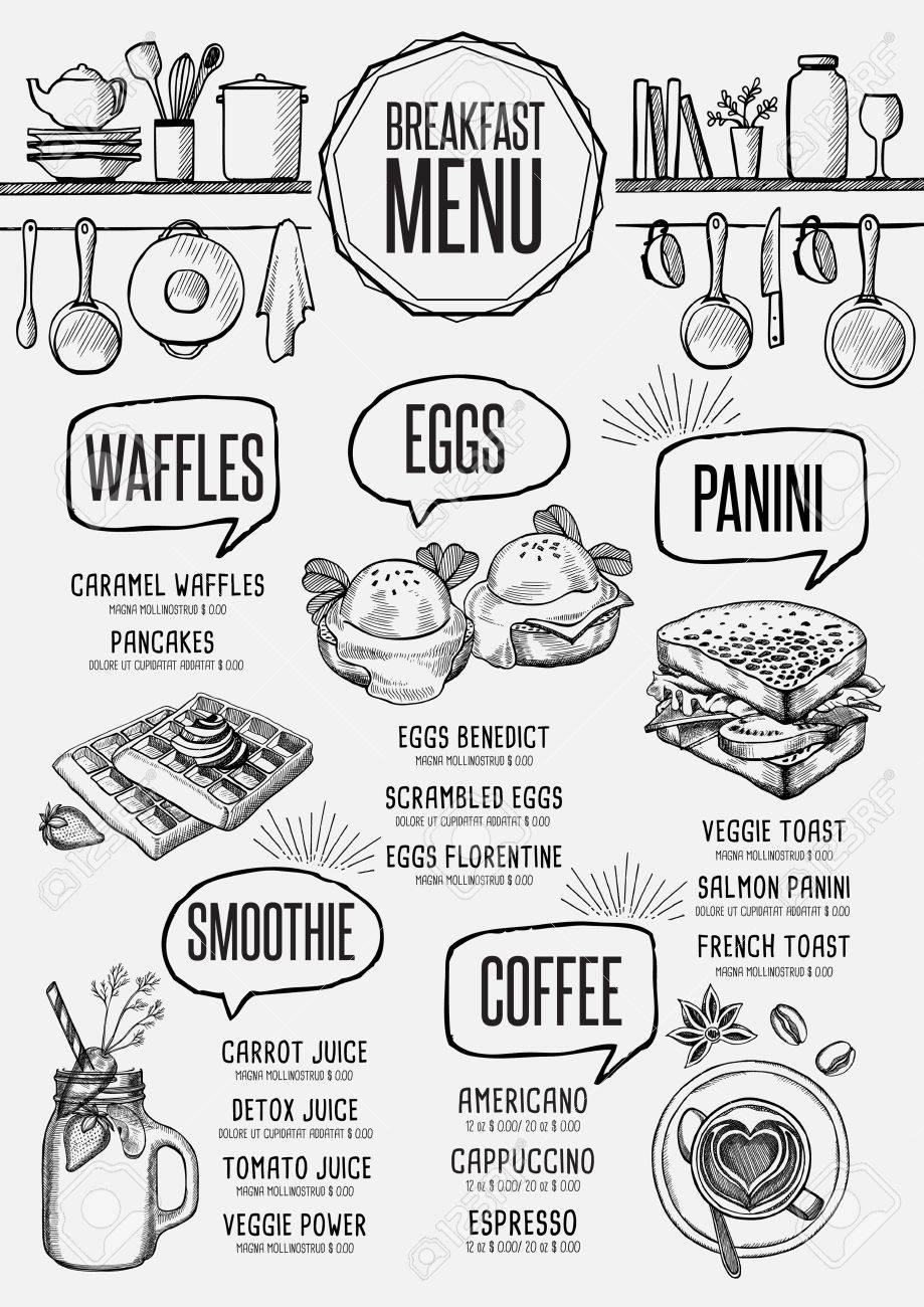 Frühstück Menü Platzdeckchen-Food-Restaurant Broschüre Template ...