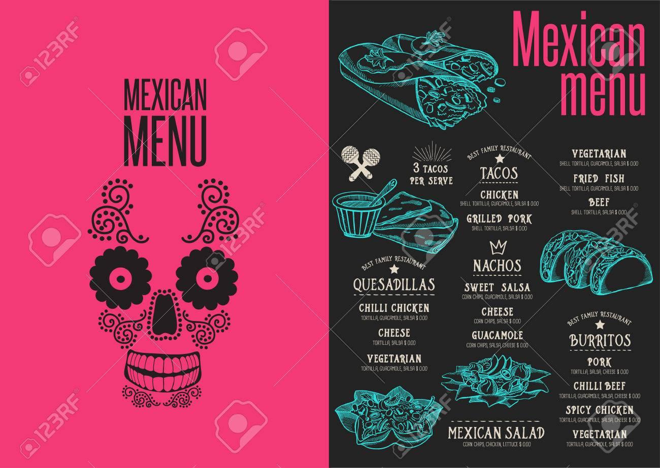 Mexican Menu Placemat Food Restaurant Brochure Template Design