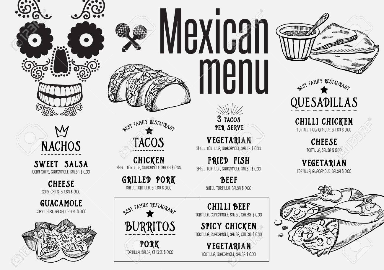 Mexican Menu Placemat Food Restaurant Brochure Template Design