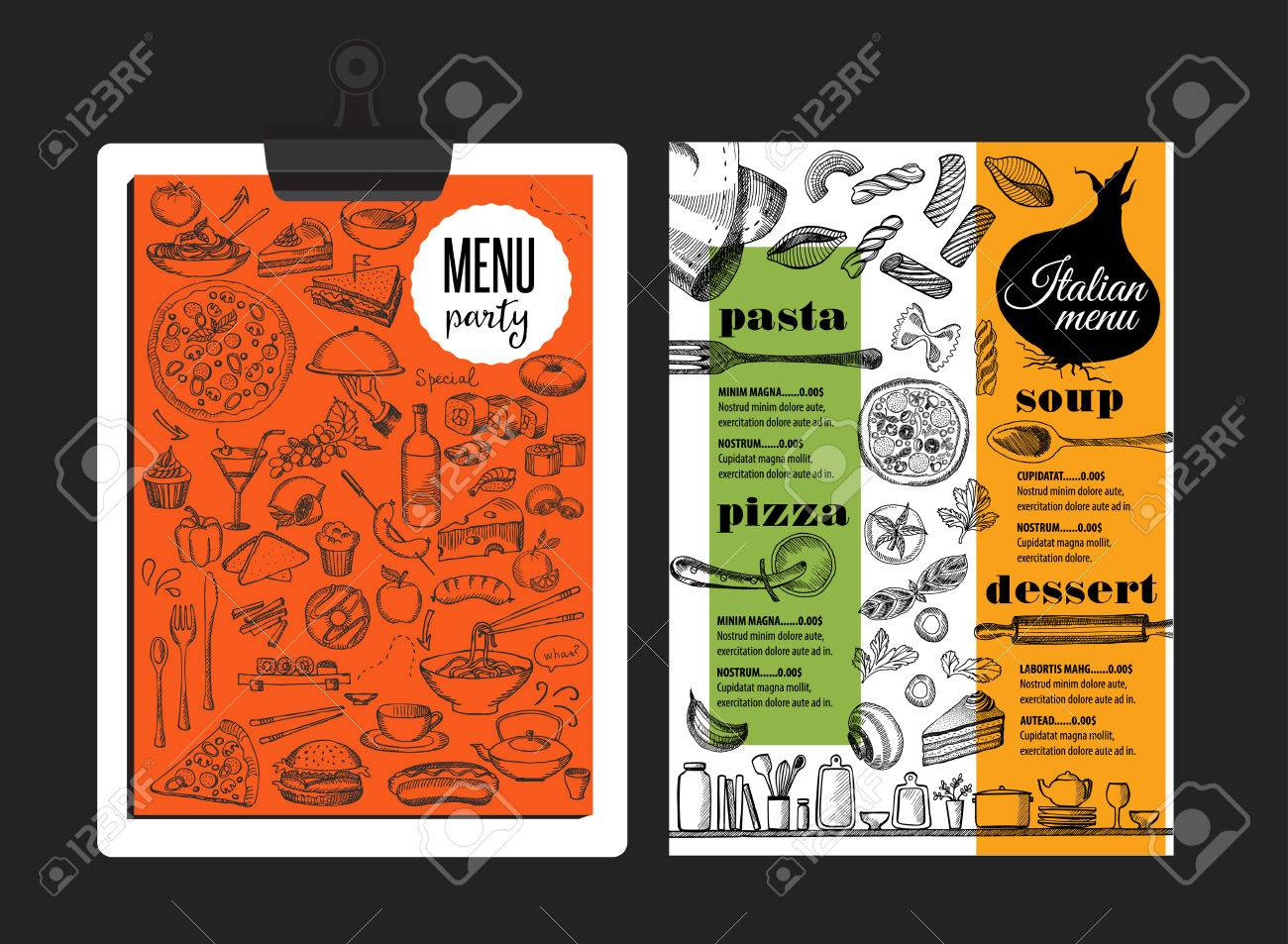 Italian Menu Placemat Food Restaurant Brochure Template Design
