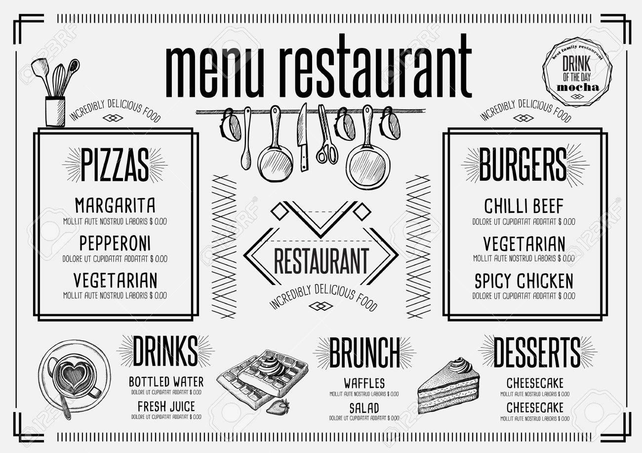 Placemat menu restaurant food brochure, cafe template design. Creative vintage brunch flyer with hand-drawn graphic. - 63153055