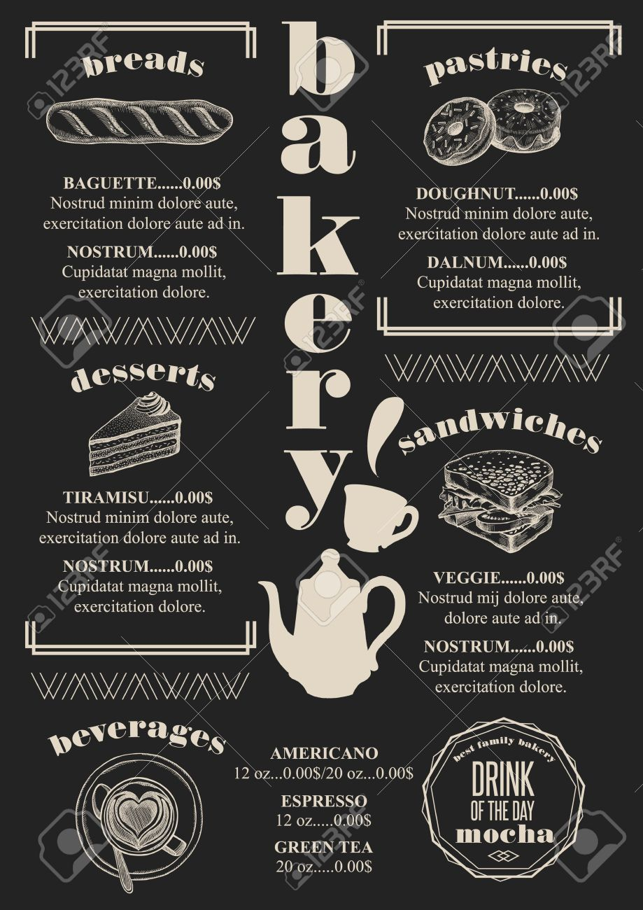 bakery coffee menu placemat food restaurant brochure cafe template