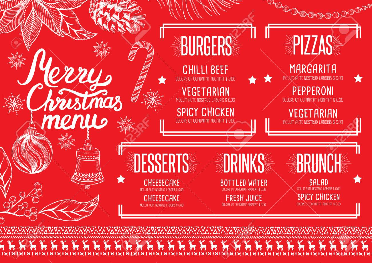 christmas restaurant brochure menu template holiday background
