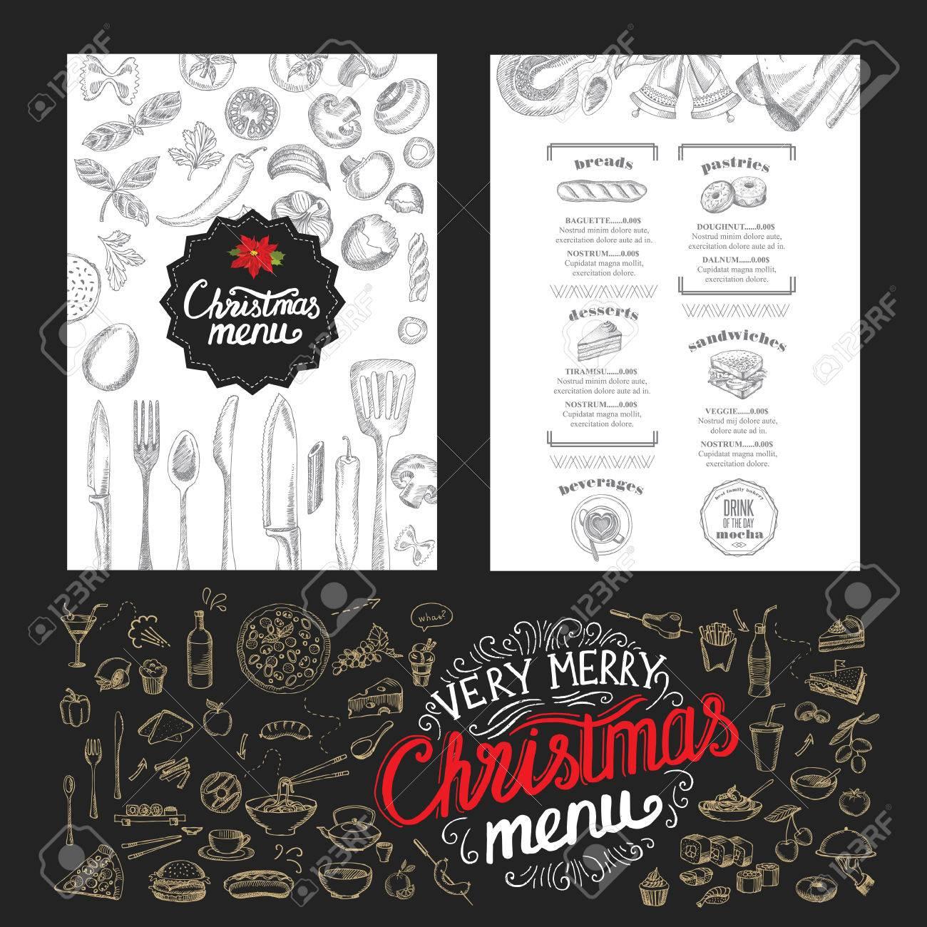 Un Bon Menu De Noel.Brochure De Restaurant De Noel Modele De Menu Fond De Vacances Et De Design Bonne Fete Du Nouvel An Avec Le Graphique De Noel
