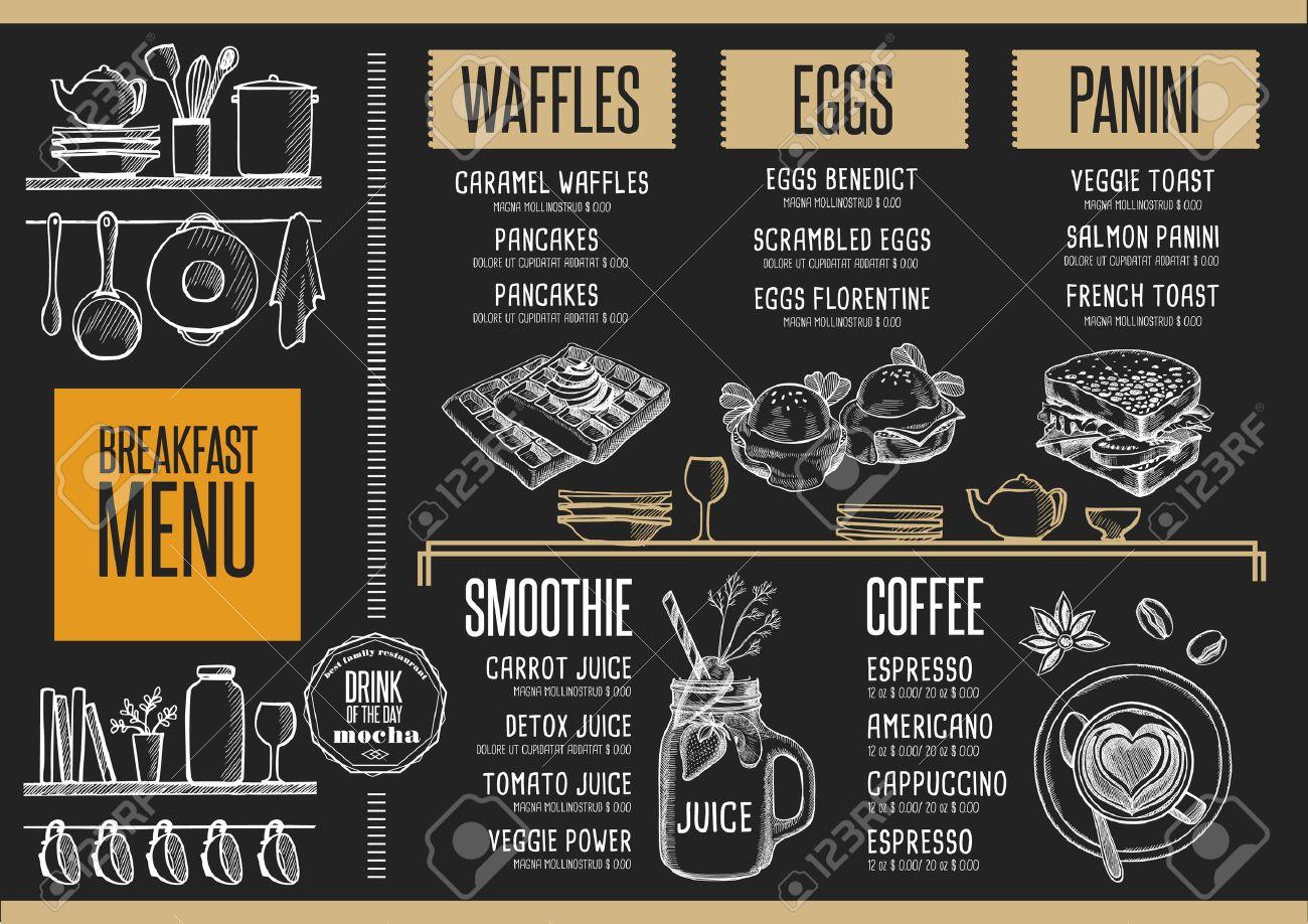 Breakfast menu placemat food restaurant brochure, template design. Vintage creative dinner flyer with hand-drawn graphic. - 65931407