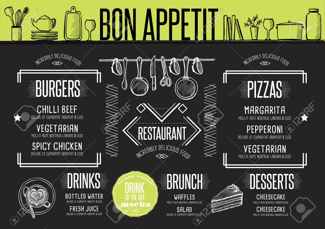 Placemat menu restaurant food brochure, cafe template design. Creative vintage brunch flyer with hand-drawn graphic. - 65931418