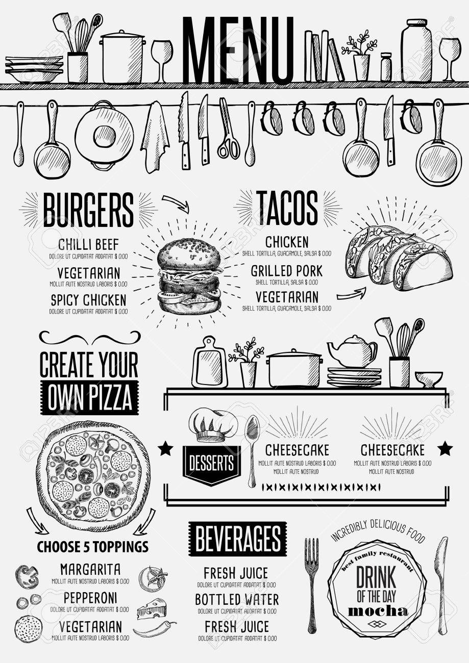 Cafe menu food placemat brochure, restaurant template design. Creative vintage brunch flyer with hand-drawn graphic. - 65931039