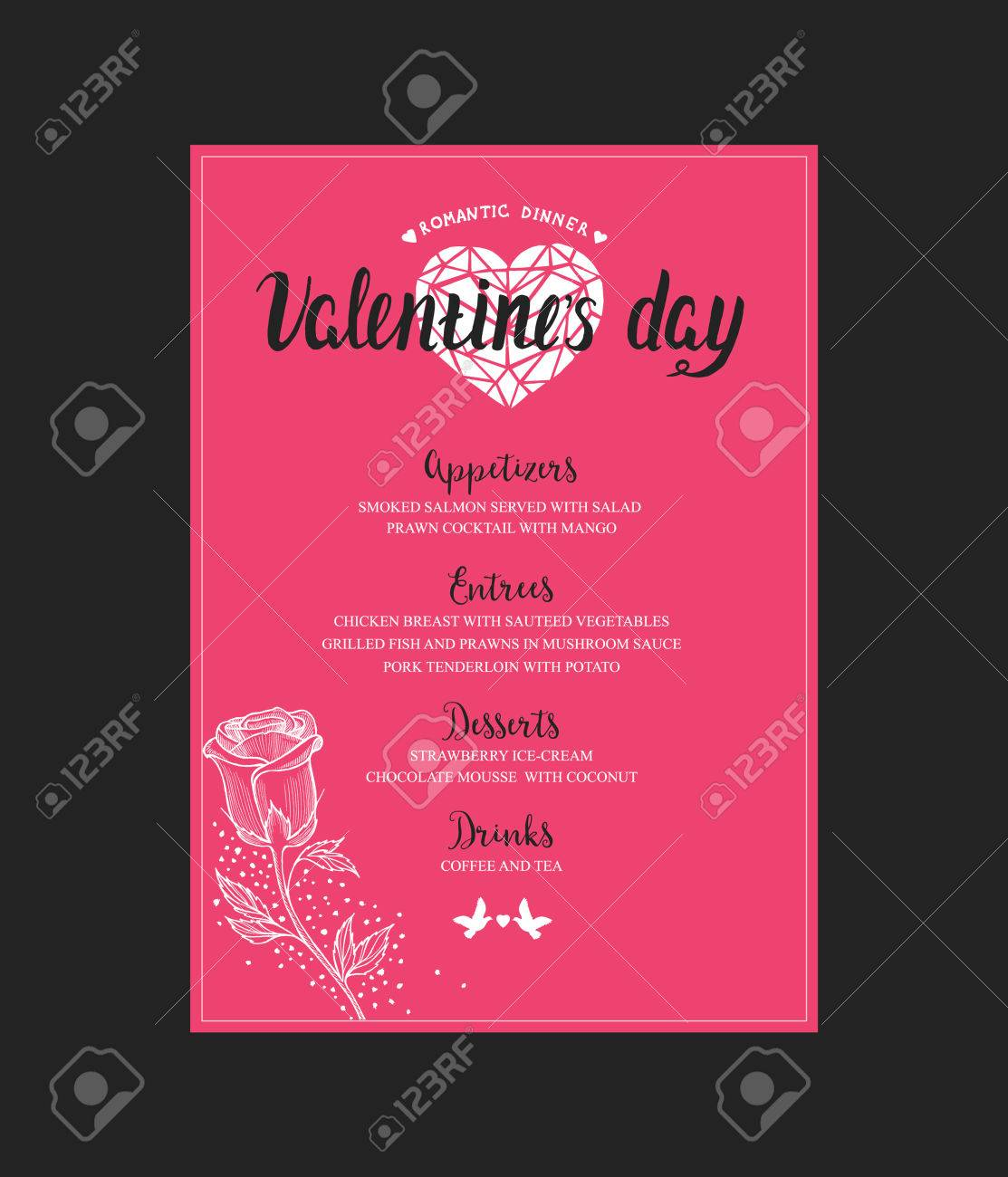 Menu Template For Valentine Day Dinner Flyer With Hand Drawn