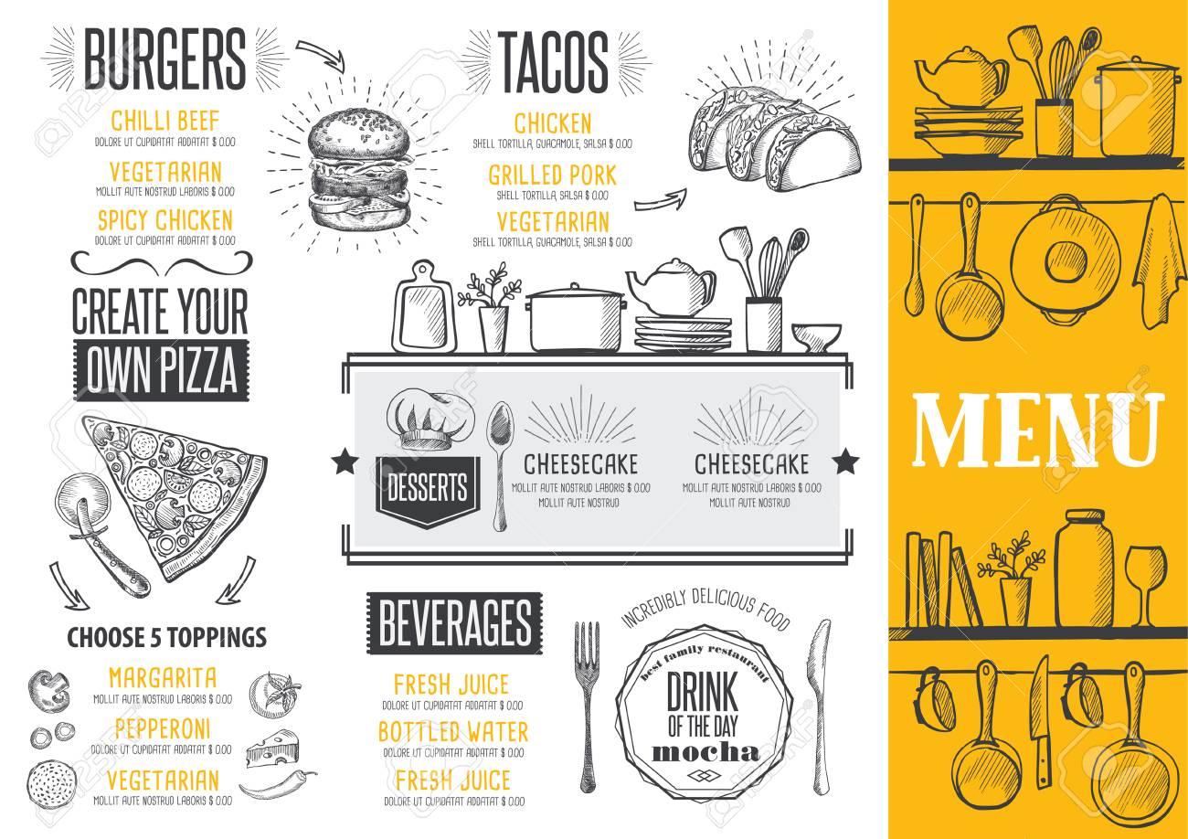 El Menú De Comida De Restaurante Y Cafetería. Plantilla De Diseño ...