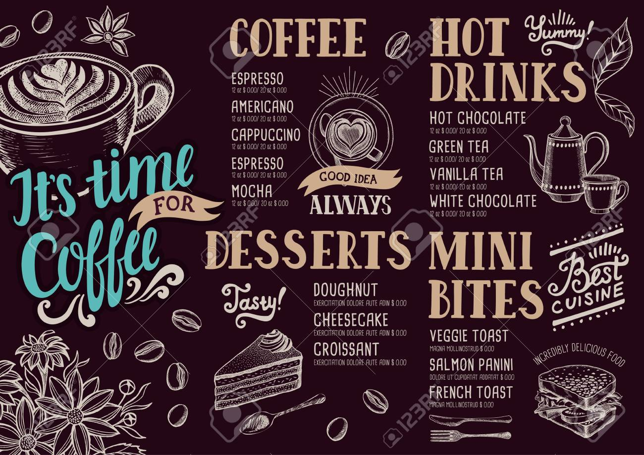 Menú De Comida Para El Café Restaurante Y Cafetería. Plantilla De ...