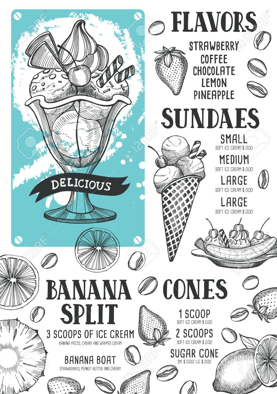 Ice Cream Menu For Restaurant And Cafe. Design Template With ...