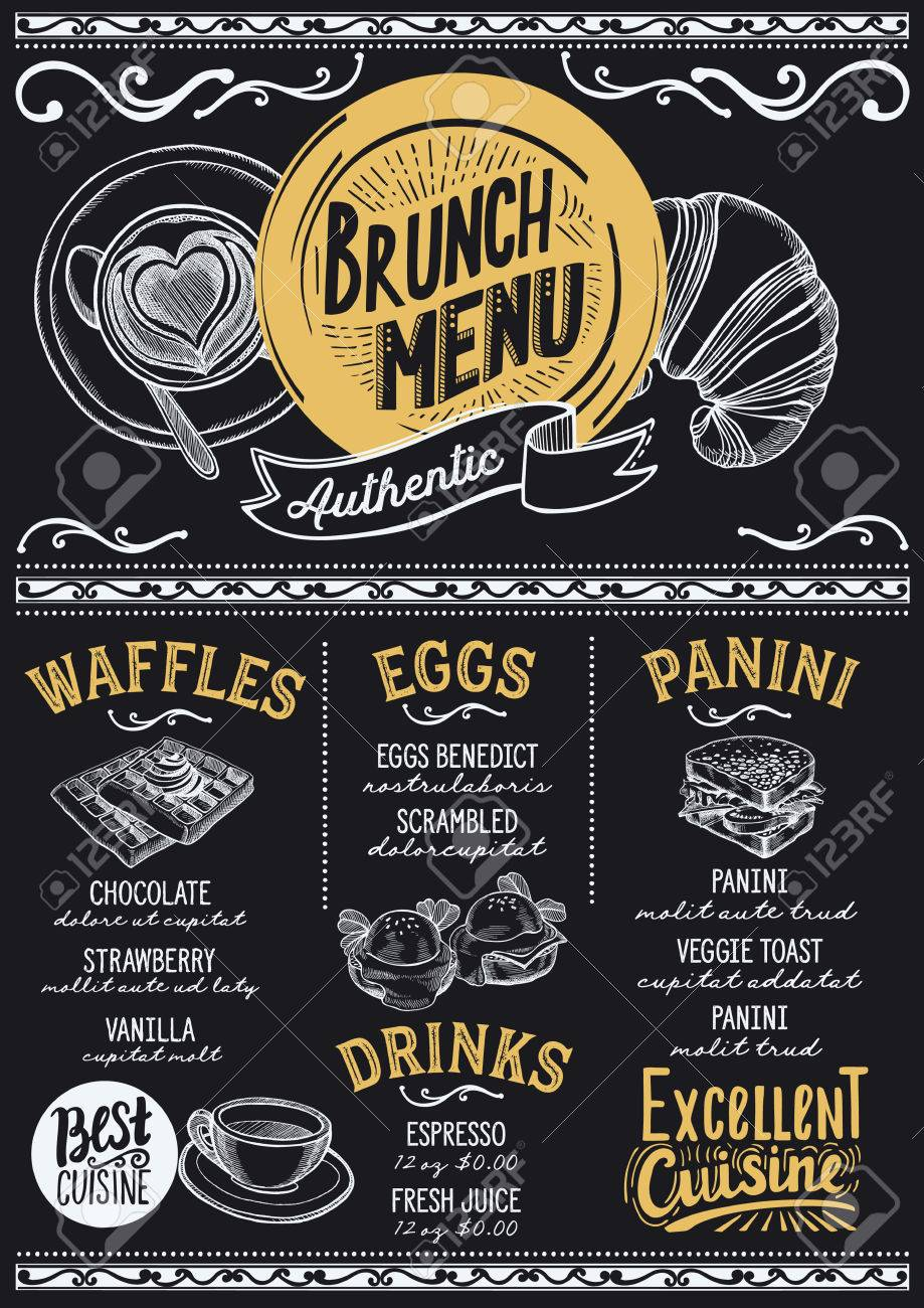 brunch food menu for restaurant and cafe design template with