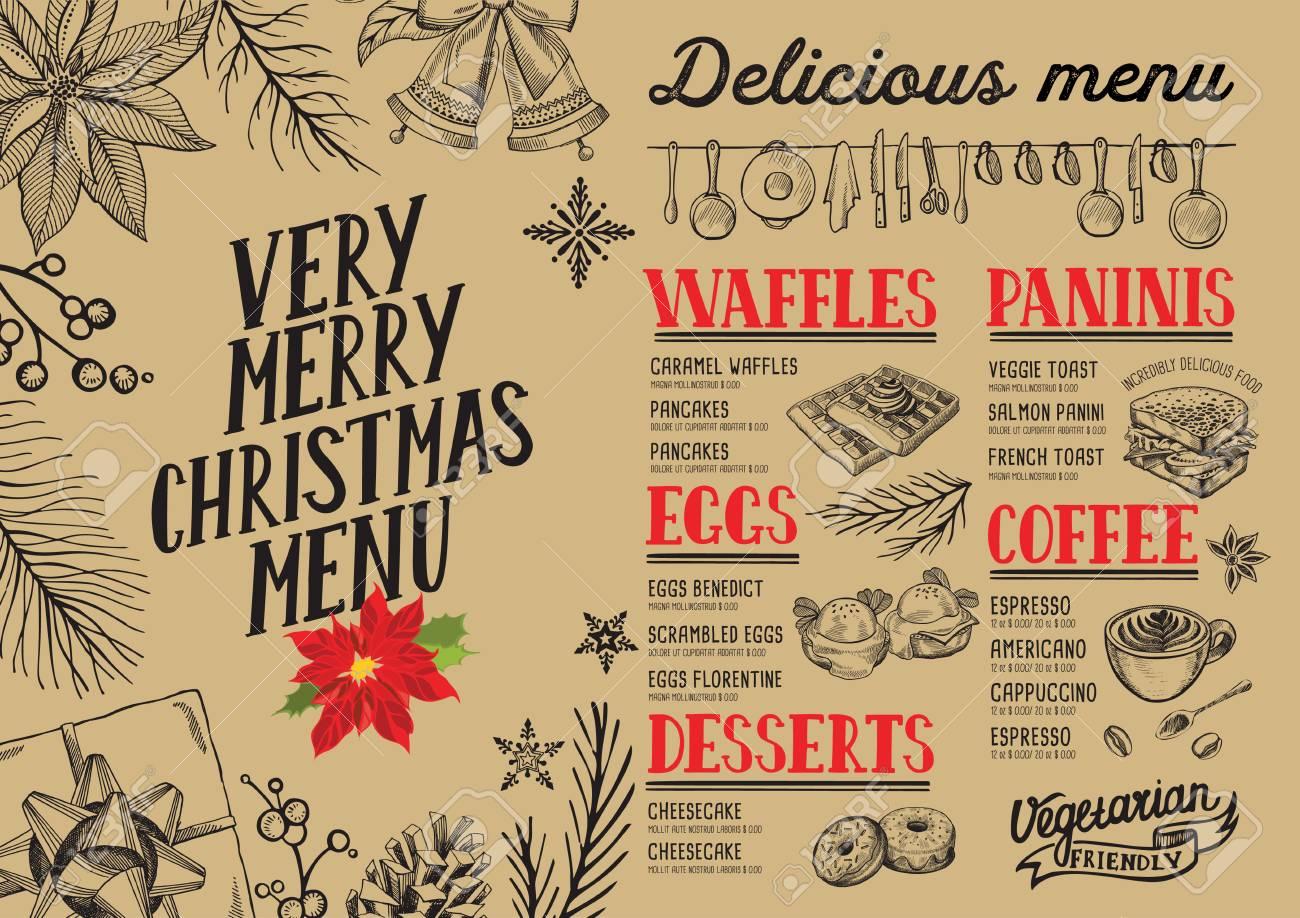Menu Di Natale Americano.Menu Per Il Cibo Di Natale Per Il Ristorante E Il Caffe Modello Di Progettazione Con Illustrazioni Grafiche A Mano Disegnate A Mano