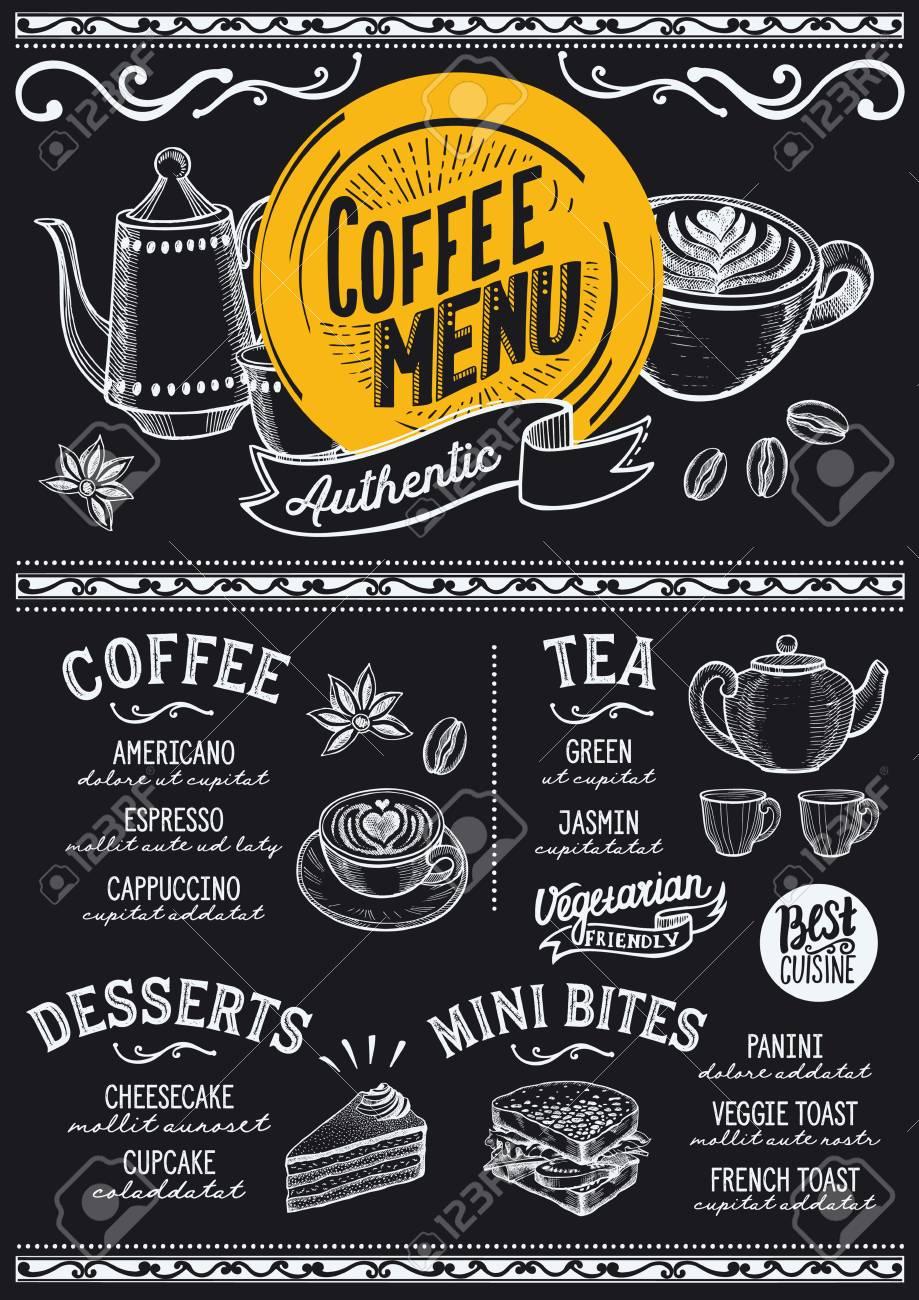 レストランカフェのメニューでコーヒーを飲む手描きイラストの