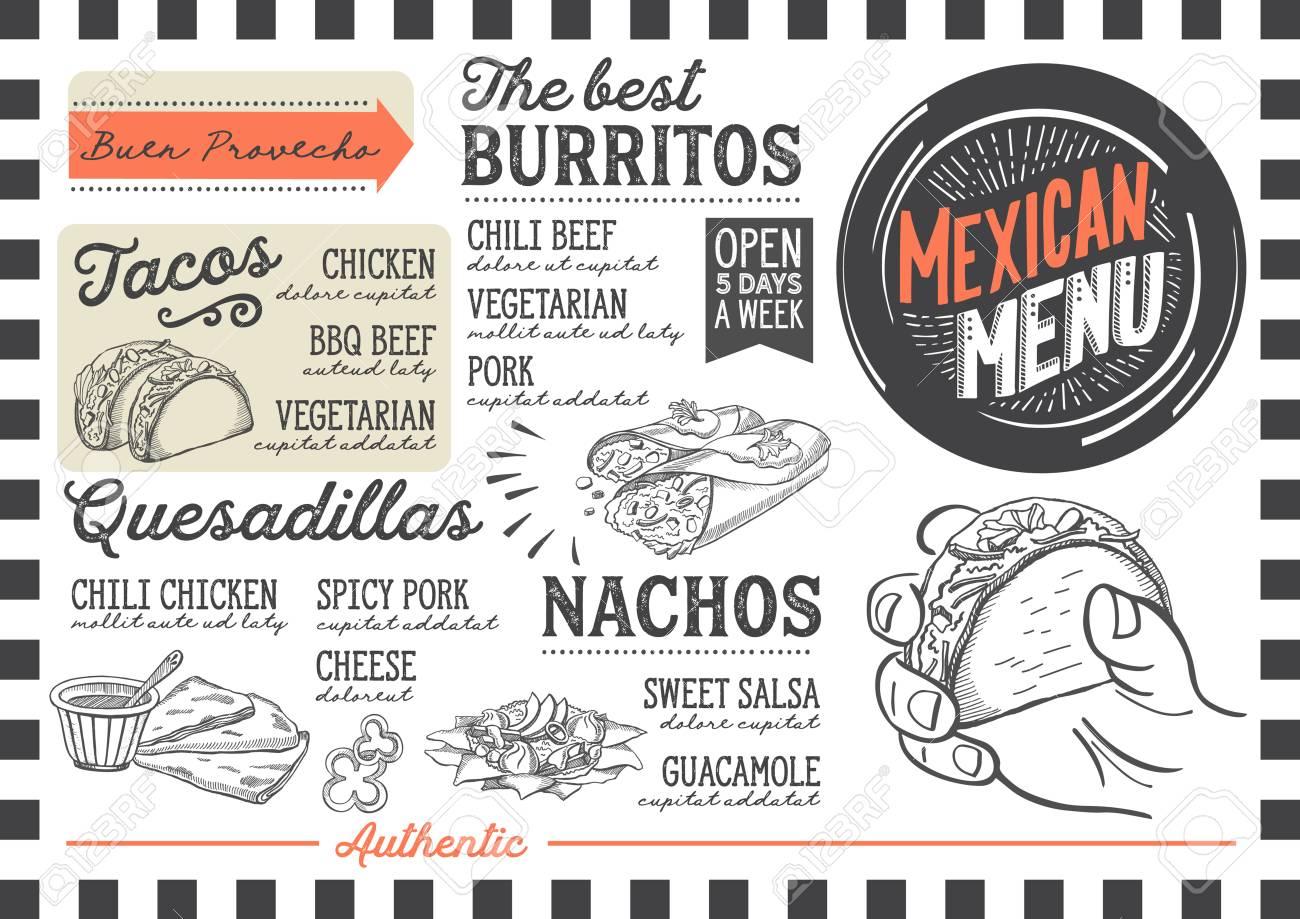 レストランカフェのメキシコのメニュー食べ物の手描きイラストの