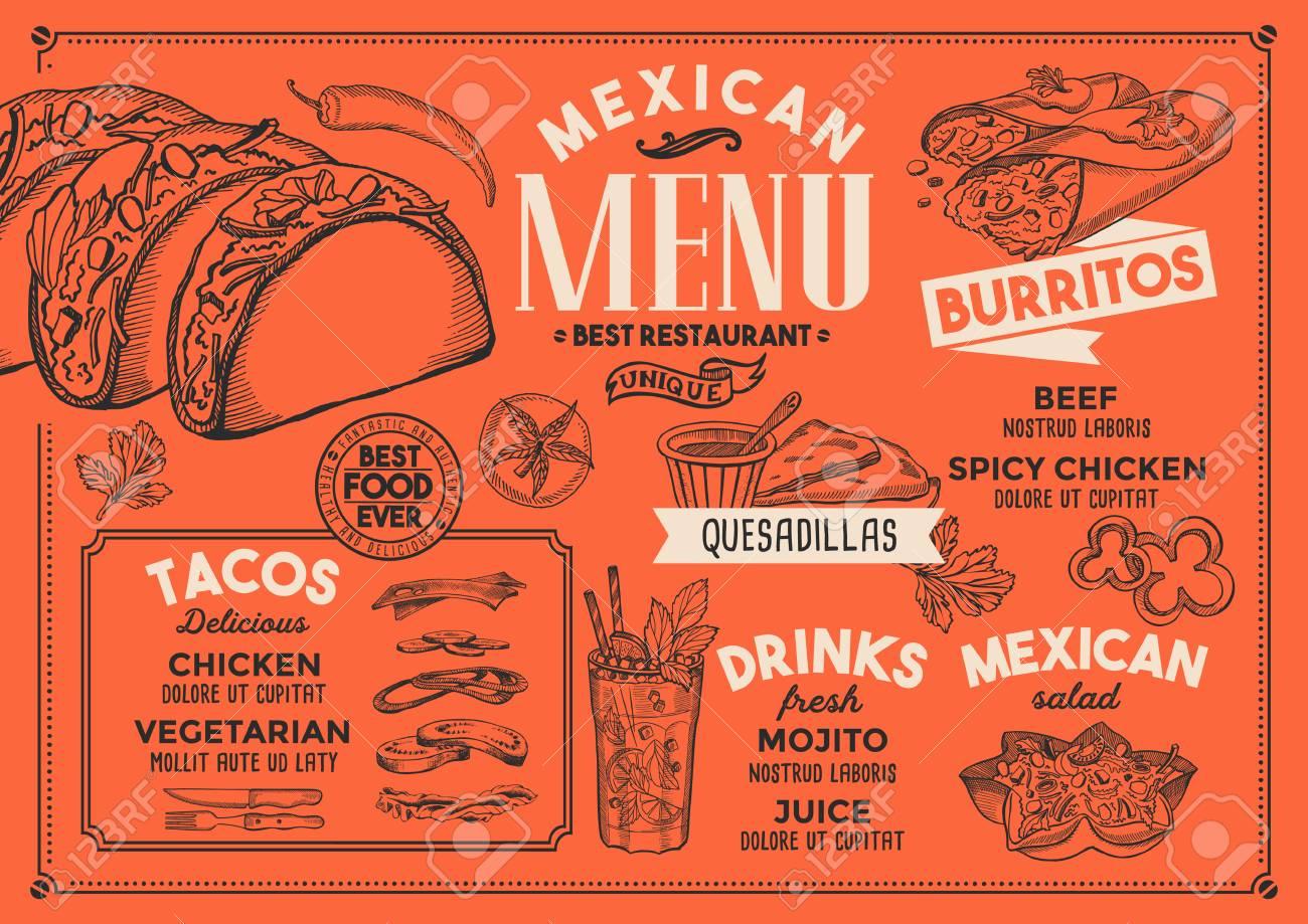 Menu Do Restaurante Mexicano Panfleto De Comida De Vetor Para Bar E Cafe Modelo De Design Com Ilustracoes Vintage Desenhados A Mao Ilustraciones Vectoriales Clip Art Vectorizado Libre De Derechos Image 94758783