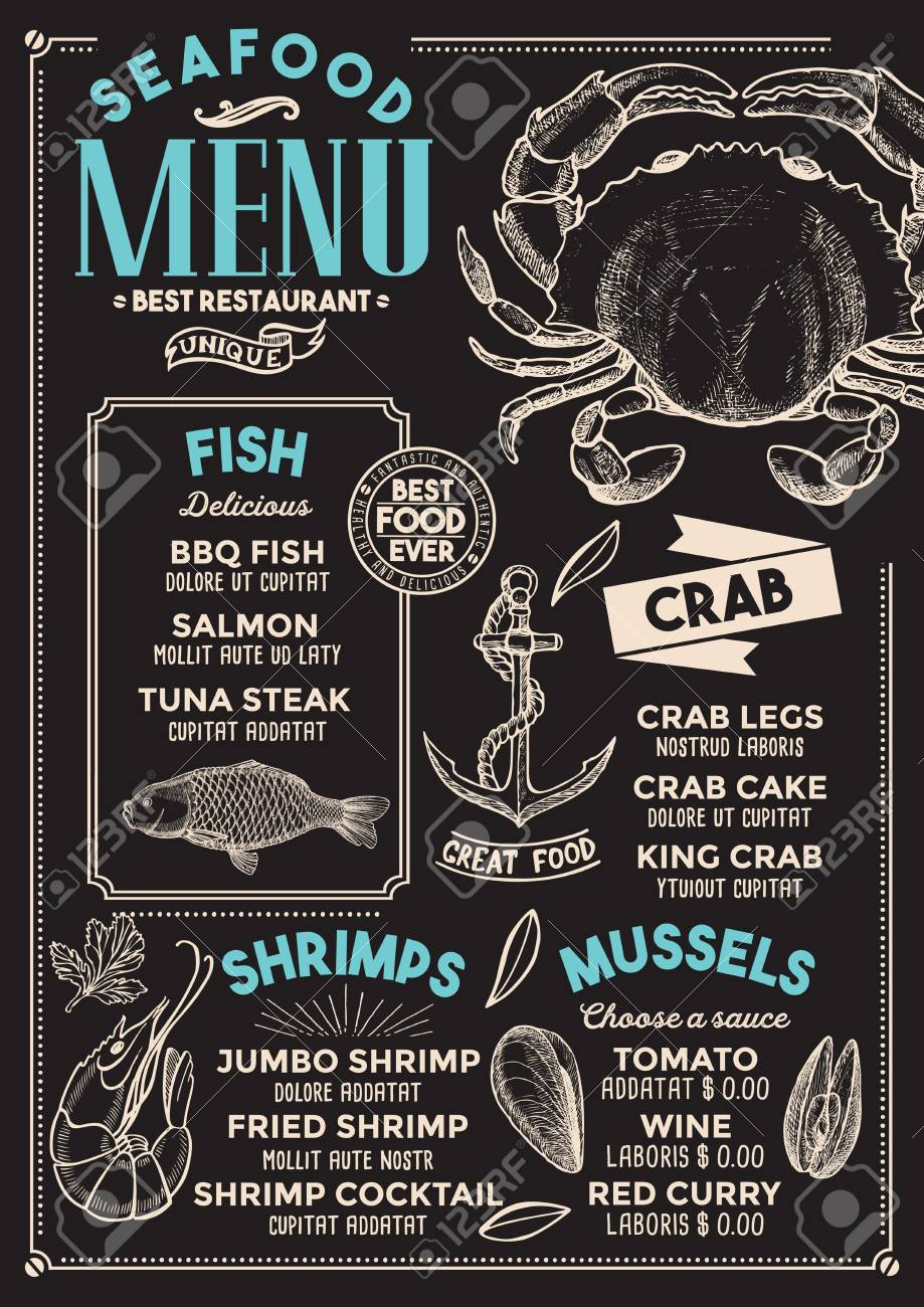 Seafood Restaurant Menu Vector Food Flyer For Bar And Cafe Royalty Free Cliparts Vectors And Stock Illustration Image 94758854