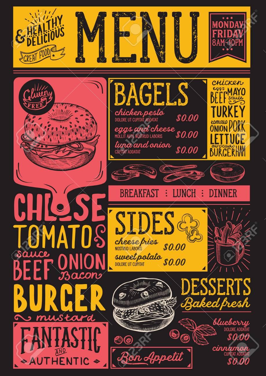 bagels restaurant menu vector sandwich food flyer for bar and