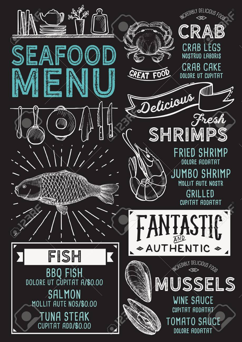 Seafood Restaurant Menu Vector Food Flyer For Bar And Cafe Royalty Free Cliparts Vectors And Stock Illustration Image 96599137