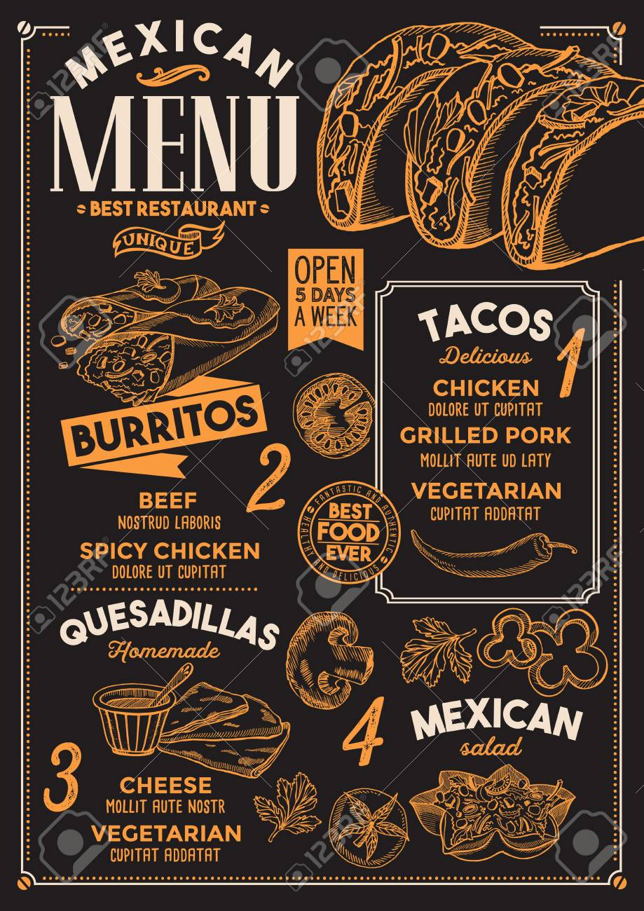 mexican restaurant menu design template with vintage hand drawn