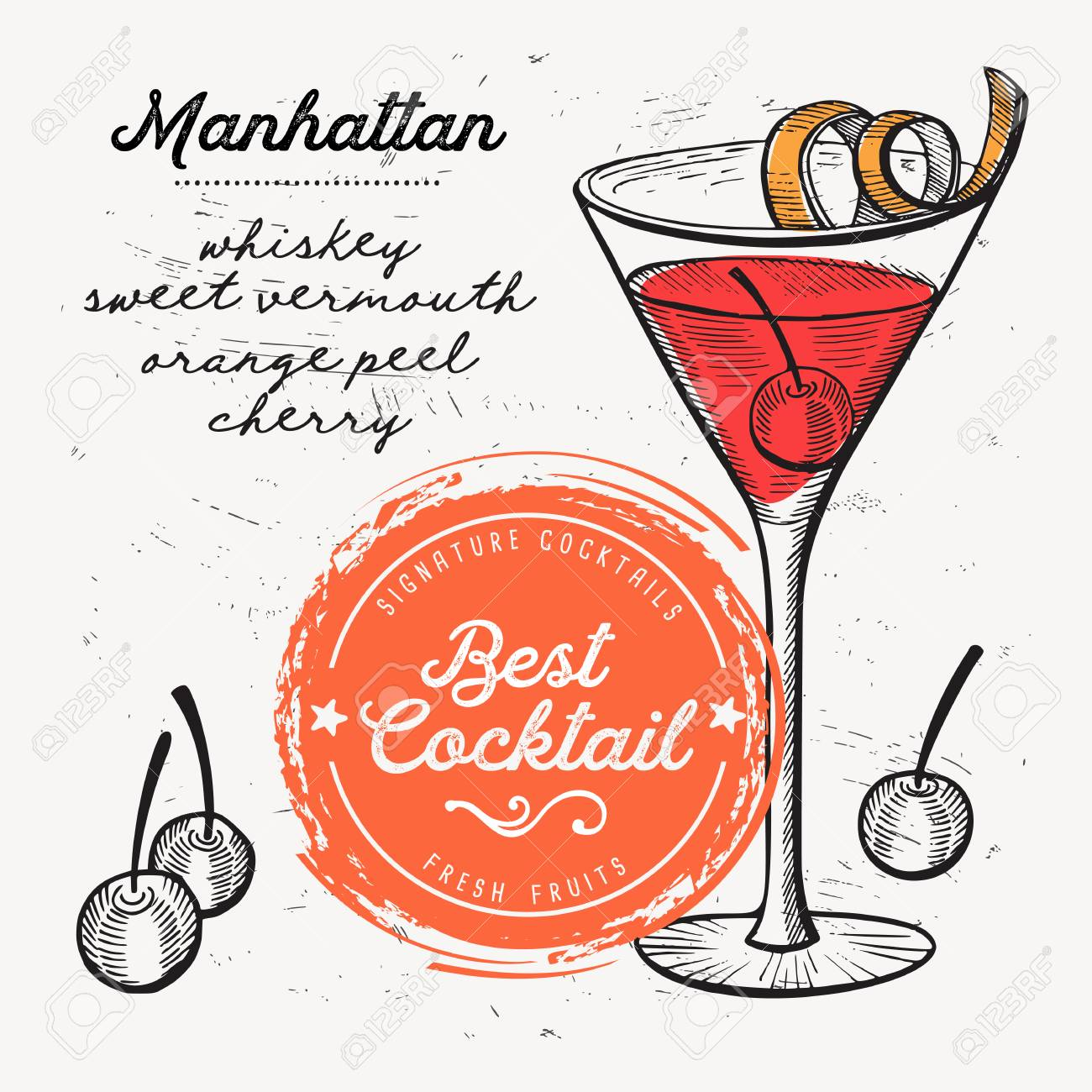 Cocktail Manhattan For Bar Menu Vector Drink Flyer For Restaurant Royalty Free Cliparts Vectors And Stock Illustration Image 98613680