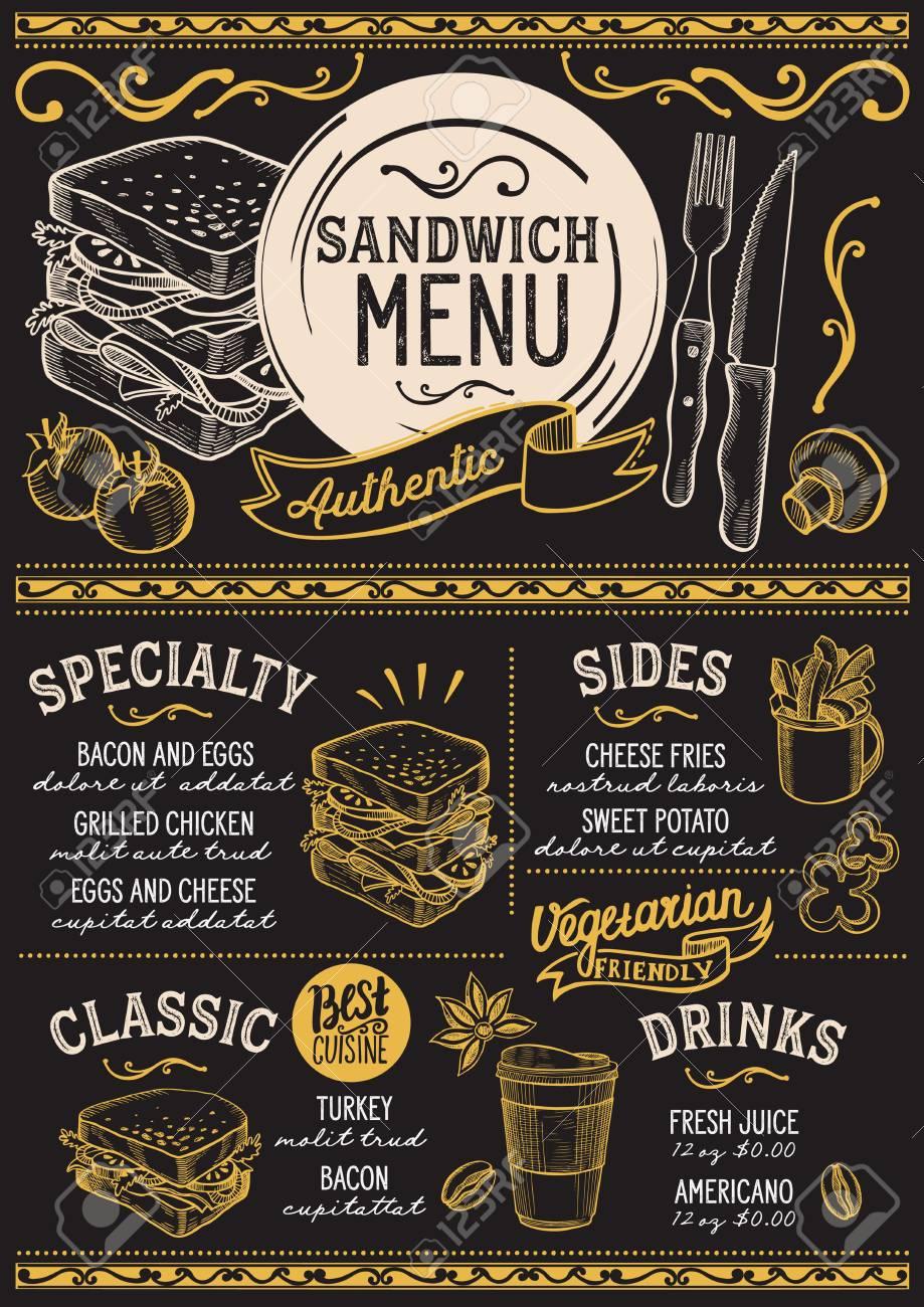 sandwich restaurant menu vector food flyer for bar and cafe