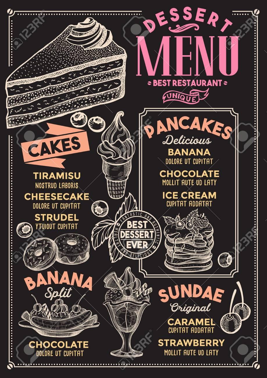 Dessert restaurant menu. Vector food flyer for bar and cafe. Design template with vintage hand-drawn illustrations. - 99144450