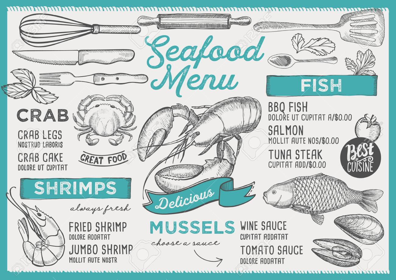 Seafood Restaurant Menu Vector Food Flyer For Bar And Cafe Royalty Free Cliparts Vectors And Stock Illustration Image 99144487