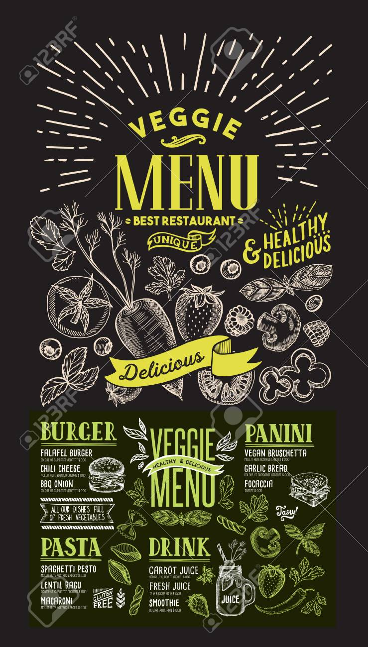 Veggie menu for restaurant. food flyer for bar and cafe. Design template on chalkboard background with food hand-drawn graphic illustrations. - 104660802